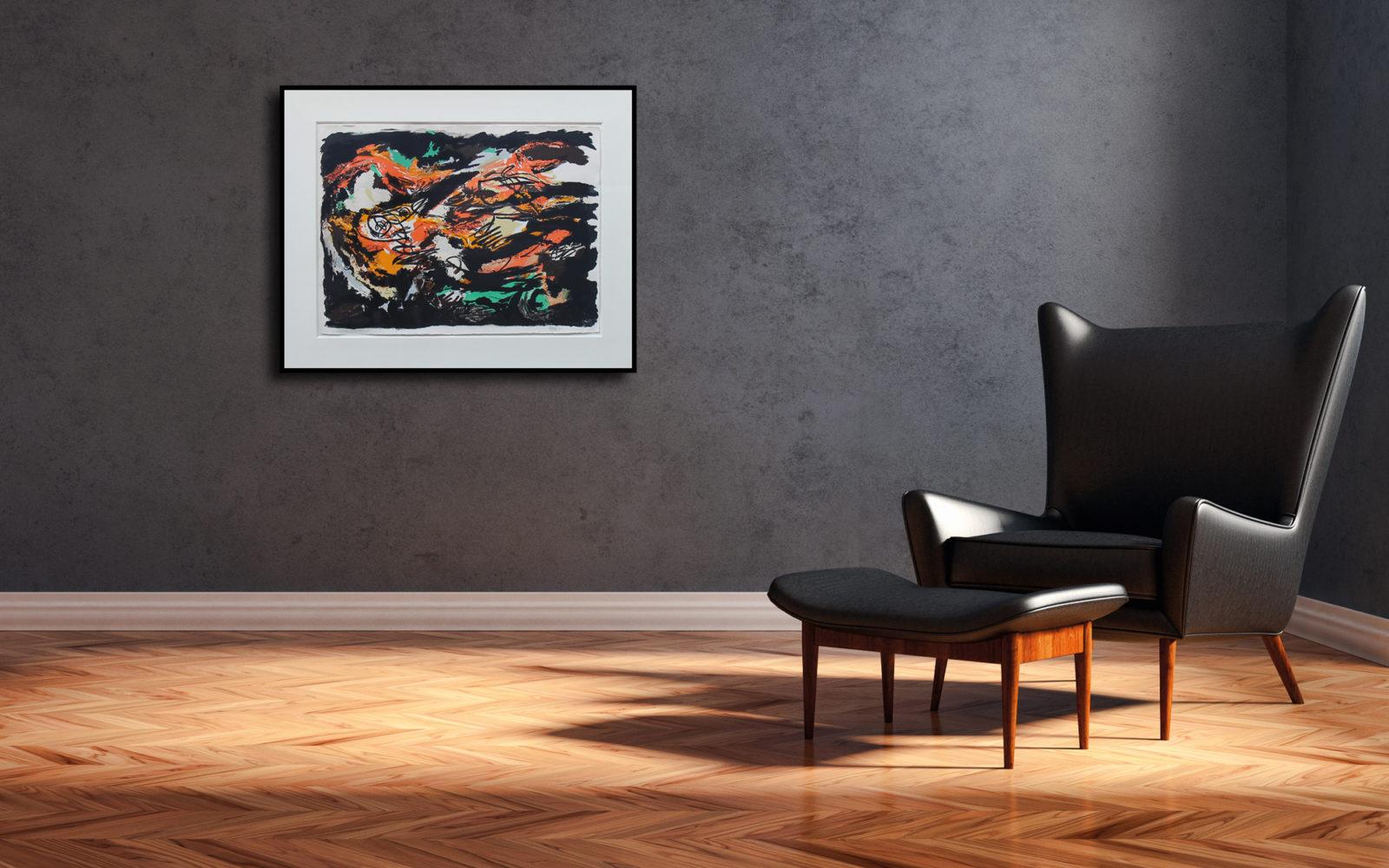 Black Mountains - lithografie 1960 100/80 cm €2200 (prijs & afmetingen incl. lijst)