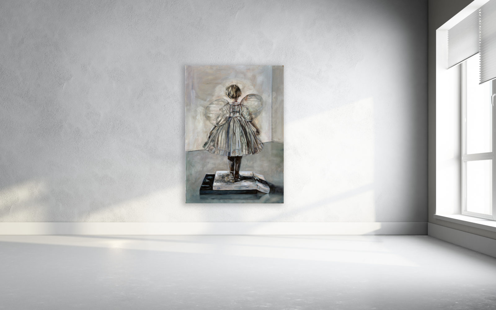 Hervé Martijn - Picture of an old angel on two  broken stones - 140 x 90 cm