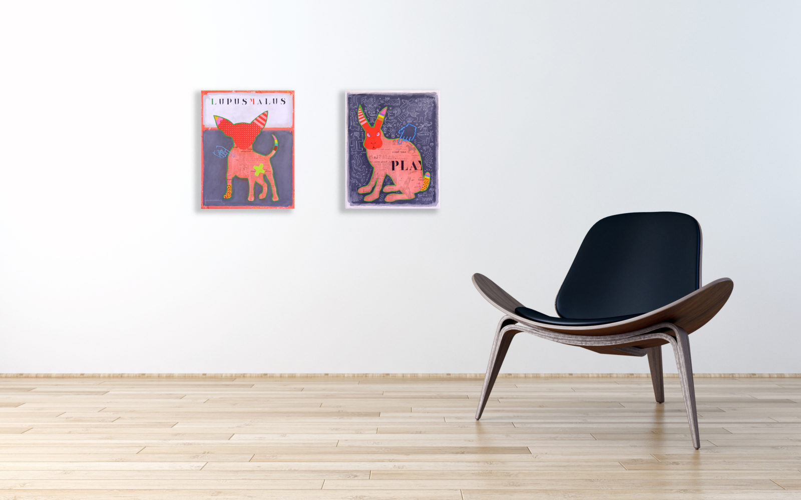 FRANK SLABBINCK - Play & LupusMalus - 40x50 cm - € 1600