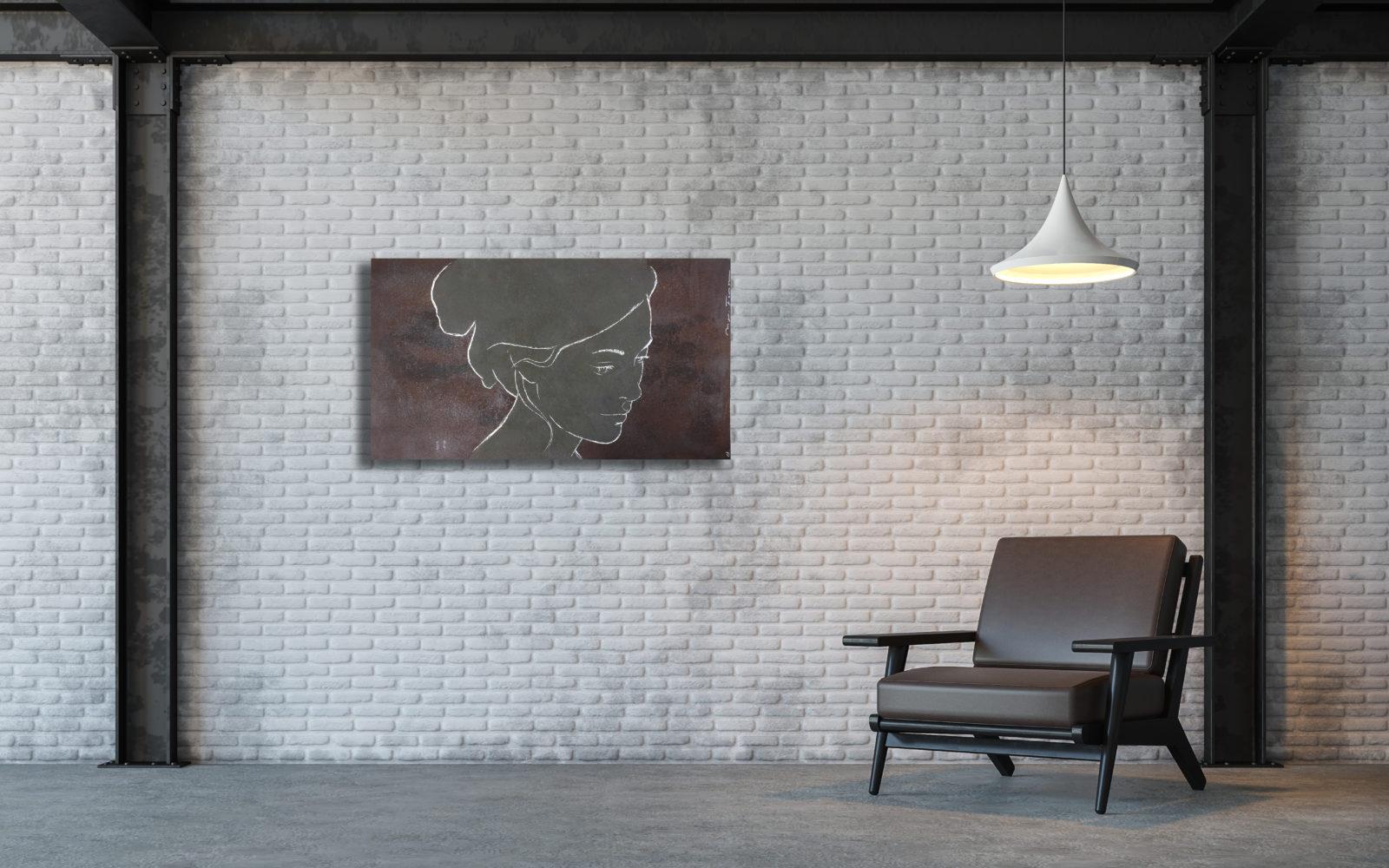 Safae - monotype op staalplaat - 100 X 55 cm - € 1100